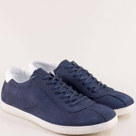 Мъжки обувки от естествен набук в тъмно син цвят m050ns