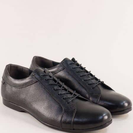 Мъжки обувки с връзки от естествена кожа в черен цвят m084ch