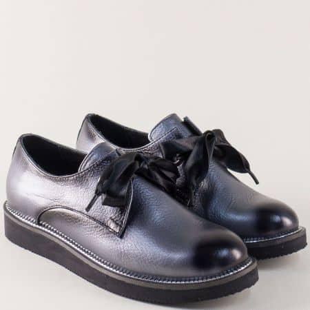Сиви дамски обувки от естествена кожа с връзки m096sv