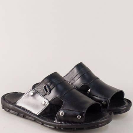 Кожени мъжки чехли в черен цвят на шито ходило m101ch