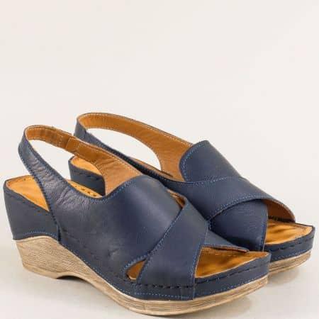 Анатомични дамски сандали на клин ходило в син цвят m108ts