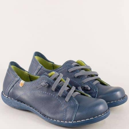 Шити дамски обувки с ластични връзки в син цвят- Jungla m5125s