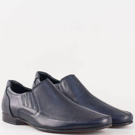 Мъжки стилни обувки с два ластика от висококачествена естествена кожа в тъмно син цвят  m112ds