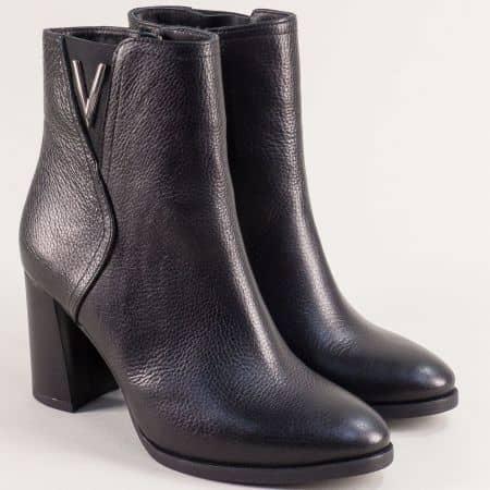Черни дамски боти от естествена кожа на висок ток m1170ch