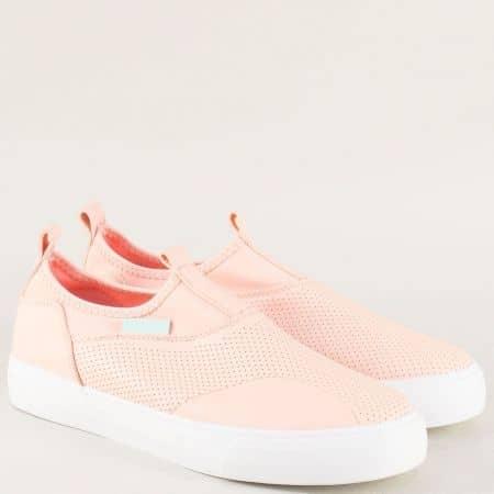 Спортни дамски обувки на равно ходило в розов цвят m1189rz