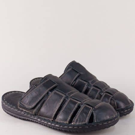 Черни мъжки чехли от естествена кожа на шито ходило 1308ch