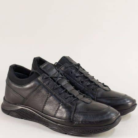 Спортни мъжки обувки в черен цвят от естествена кожа  m1315ch
