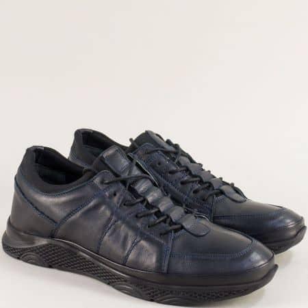 Тъмно сини мъжки обувки с кожена стелка и връзки m1315s