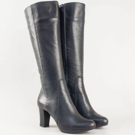 Изчистени дамски ботуши на висок ток от естествена кожа в тъмно син цвят- български производител m1325s