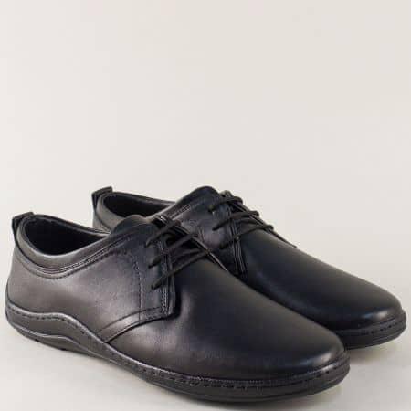 Кожени мъжки обувки в черен цвят на шито ходило m1400ch