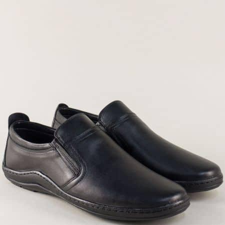 Шити мъжки обувки от черна естествена кожа с ластик m1401ch