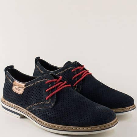 Перфорирани мъжки обувки с връзки от син естествен велур m1406vs