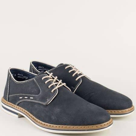 Перфорирани мъжки обувки от син естествен набук- Rieker m1435ns