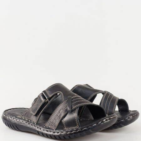 Мъжки комфортни чехли произведени от 100% естествена кожа в черен цвят m1566ch
