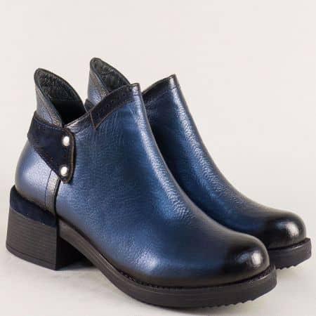 Сини дамски боти от естествена кожа и велур на нисък ток m155s
