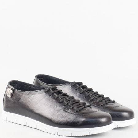 Дамски комфортни обувки изработени от 100% естествена кожа с ортопедична стелка на български производител в черен цвят m1603ch