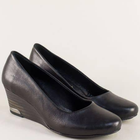 Черни дамски обувки на клин ходило с кожена стелка m1604ch