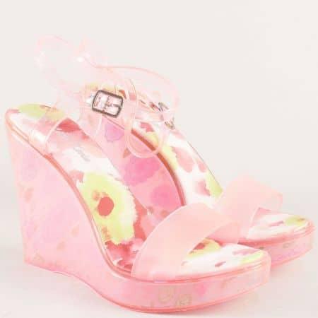 Дамски сандали на висока платформа в розов цвят m1608rz