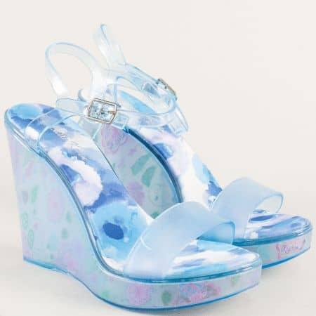 Сини дамски сандали на платформа с флорален принт m1608s