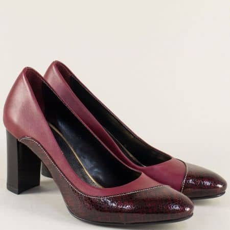 Дамски обувки в цвят бордо от естествена кожа и лак m160bd