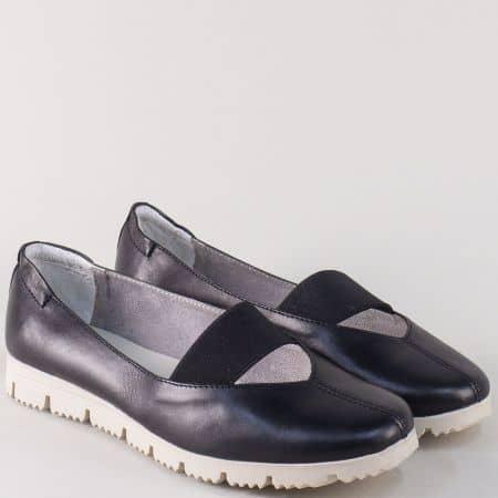 Дамски обувки от черна естествена кожа с ластик m162ch