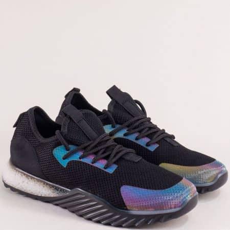 Спортни дамски обувки в черен цвят с връзки m1650ch