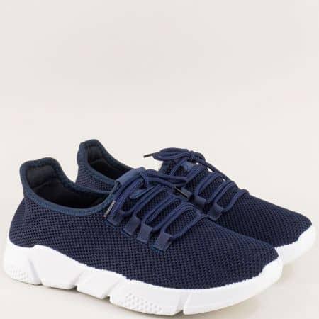 Тъмно сини мъжки маратонки с връзки на бяло ходило m1709s