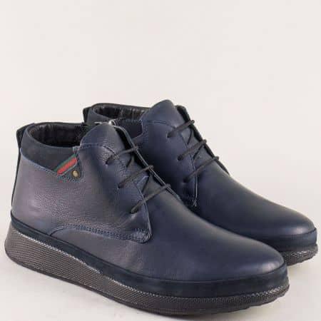 Сини мъжки обувки от естествена кожа с топъл хастар m170s
