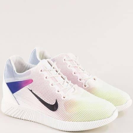 Бели дамски маратонки в преливащи неонови цветове m1762b