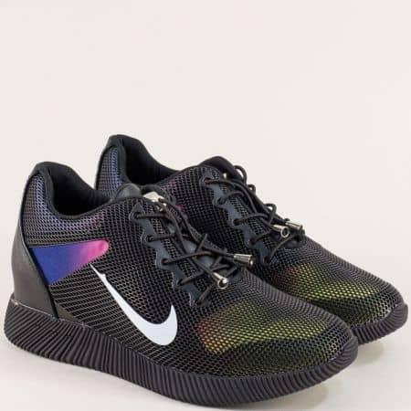 Дамски маратонки с ластични връзки в черен цвят m1762ch