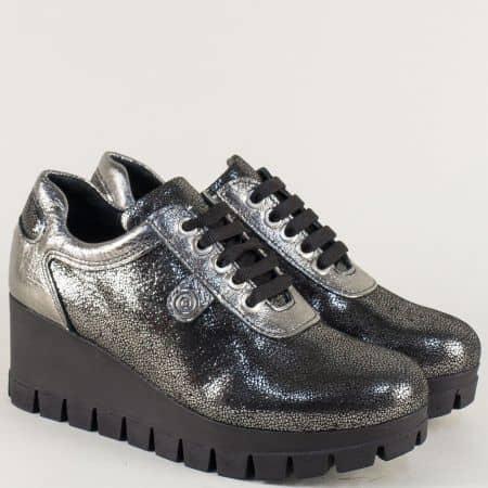 Сребристи дамски обувки с връзки на клин ходило  m1793sr