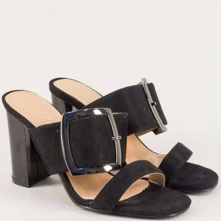 Черни дамски чехли на висок ток с катарама- ELIZA m1825vch