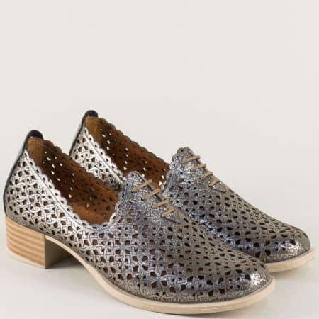 Бронзови дамски обувки с връзки на нисък ток m183brz