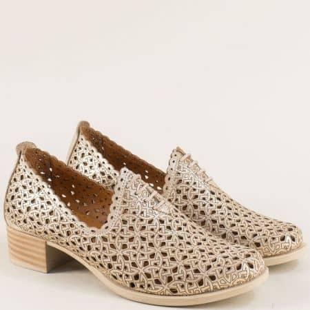 Златни дамски обувки с кожена стелка и перфорация m183szl