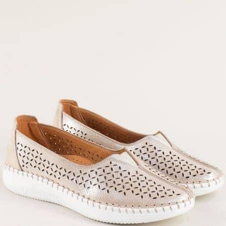 Розови дамски обувки от естествена кожа и статен m1848srz