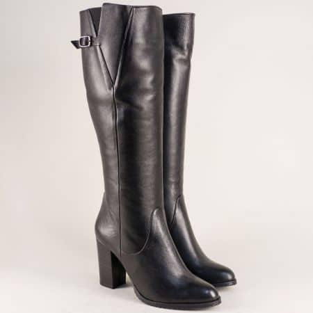 Черни дамски ботуши на висок ток от естествена кожа m187ch