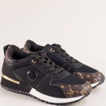 Спортни дамски обувки в черен цвят с връзки m1901ch
