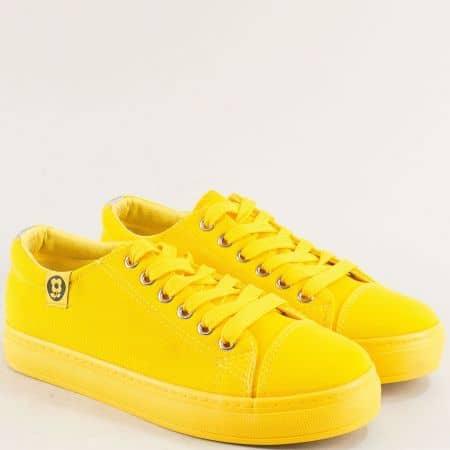 Жълти дамски кецове с връзки на равно ходило m20-40j