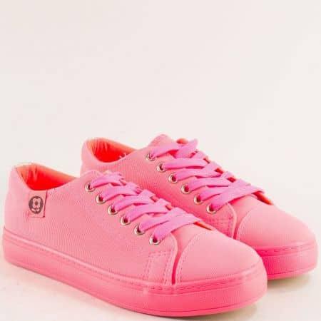 Дамски кецове в розов цвят с връзки на равно ходило m20-40rz