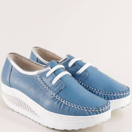 Комфортни дамски обувки от естесвена кожа с в син цвятвръзки m2001s