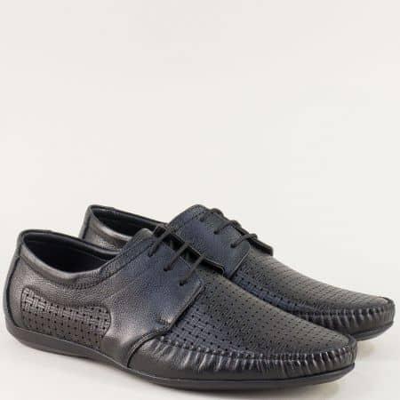 Перфорирани мъжки обувки от естествена кожа в черно m2008ch