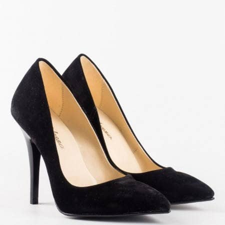 Черни дамски обувки на тънък ток от еко набук m2015nch