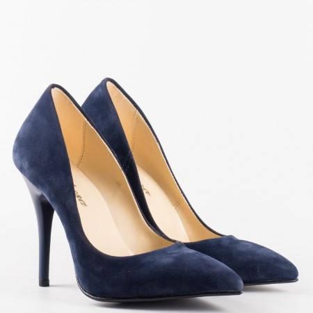 Сини  дамски обувки на  висок ток от висококачествен  еко набук m2015ns