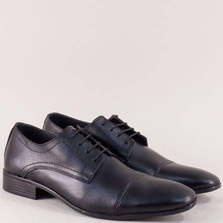 Мъжки обувки в черен цвят с връзки от естествена кожа m205ch