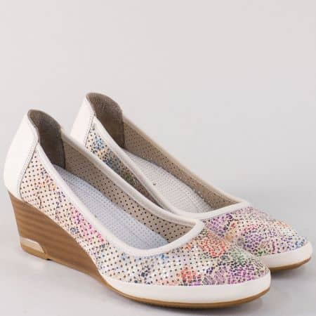 Пъстри дамски обувки на клин ходило от естествена кожа m210bps