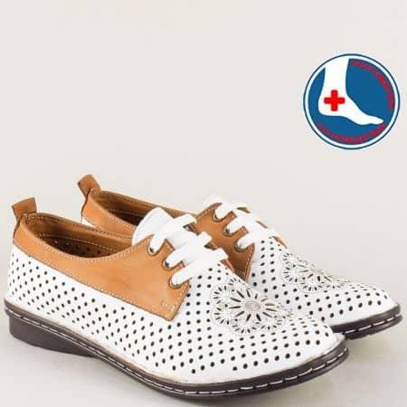 Кожени дамски обувки с връзки в кафяво и бяло m2116bk