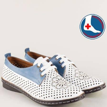 Равни дамски обувки с кожена стелка в синьо и бяло m2116bs
