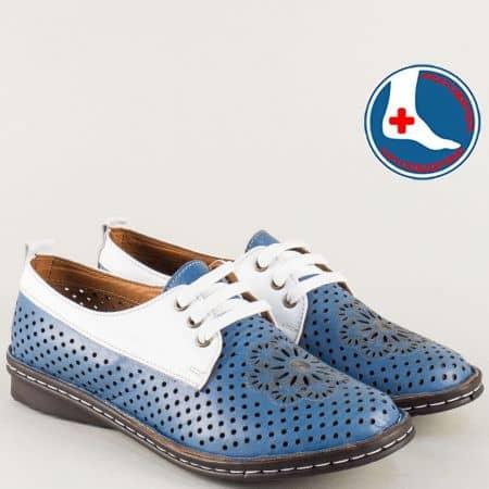 Шити дамски обувки от естествена кожа в бяло и синьо m2116sb