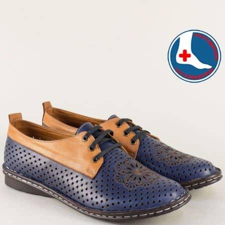 Перфорирани дамски обувки в синьо и тъмно кафяво m2116sk