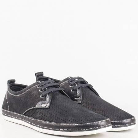 Ежедневни мъжки  обувки с връзки от черна естествена кожа и набук с перфорация m221dch